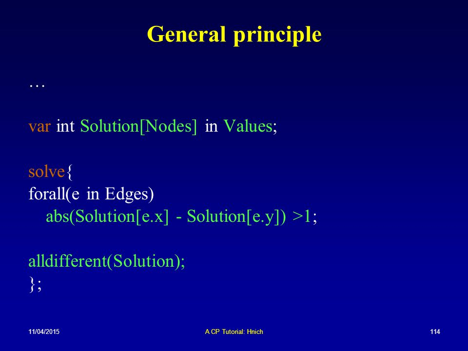 General principle … var int Solution[Nodes] in Values; solve{